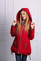 Теплая стильная женская куртка красного цвета