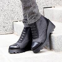 Женские стильные зимние ботинки серого цвета из войлока на ребристой подошве,36-40