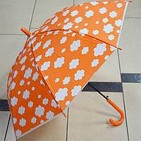 Зонт детский трость Облачка оранжевый