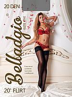 Женские чулки с силиконовой ажурной резинкой Flirt 20 den Belladgio чулки (Украина)