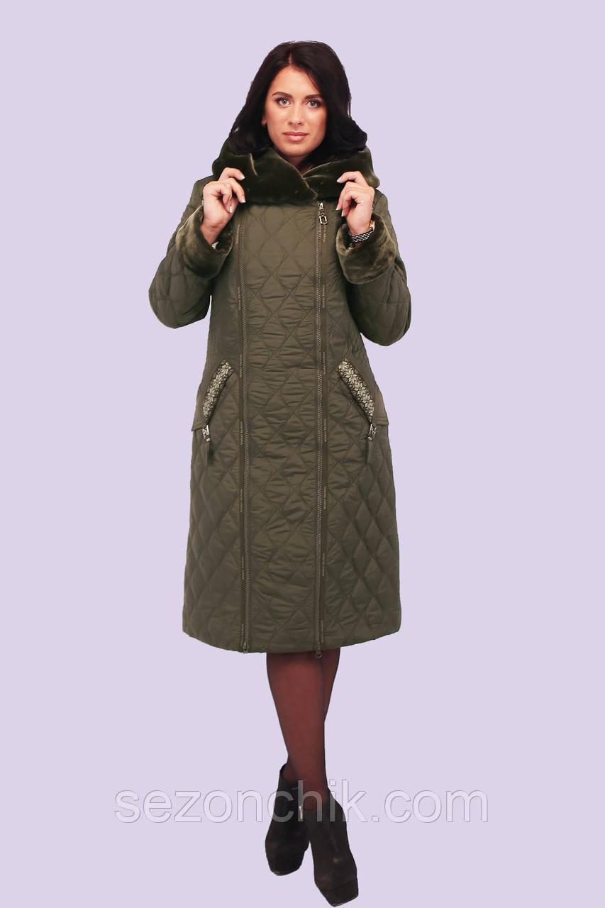 Пуховик женский модный Украина с мехом удлиненный
