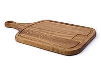 Деревянная разделочная доска с ручкой и впадиной 45 х 25 см