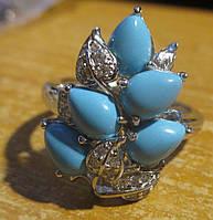 """Хорошенький перстень с натуральной бирюзой """"Ягодка"""", размер 18,1 от студии LadyStyle.Biz"""