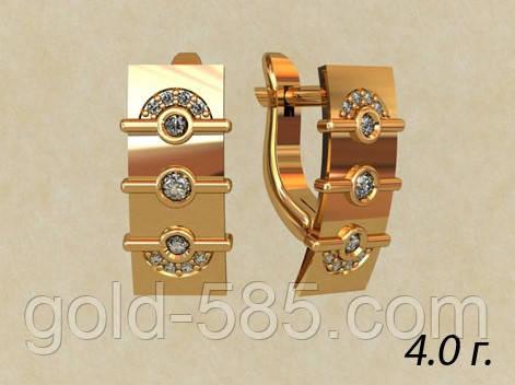 Прямоугольные стильные женские золотые серьги 585  пробы с Фианитами ... 3887d49c5b2