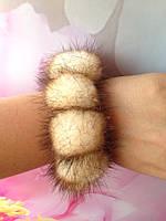 Норковый браслет на руку, резиночка для волос.