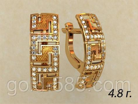 fd2c44a8f1ec Прямоугольные женские золотые серьги 585  пробы в греческом стиле с  Фианитами - Мастерская ювелирных украшений