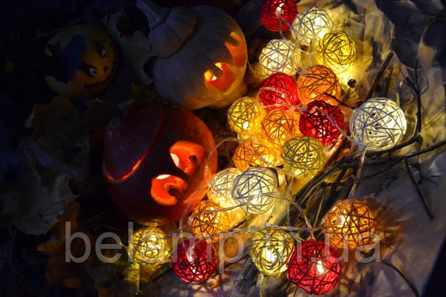 Всех с Хэллоуином!  А у нас тематическая появилась гирлянда на батарейках из плетеных шариков!