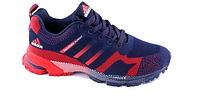 Беговые кроссовки адидас Marathon синие с красным мужские