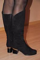 Сапоги женские замшевые на каблуке со стразами . Замша натуральная . 37 38 39