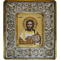 Набор для вышивки бисером и нитками 702101. ХРИСТОС СПАСИТЕЛЬ (СЕРЕБРО, ЛИЛИИ)