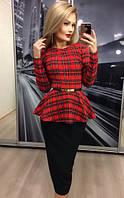 Костюм женский с юбкой в красную клетку и баской  !  , фото 1