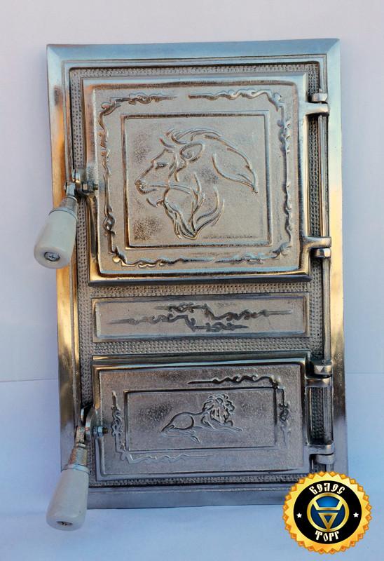 Печная дверца Лев Масайский, чугунные дверки для печи и барбекю