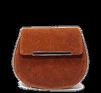 Отличная полукруглая женская сумка из замша коричневого цвета LRE-137473