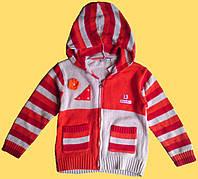 Кофта вязанная для девочки, оранжевая, с капюшоном