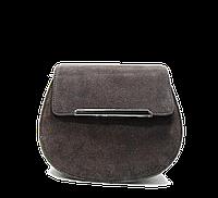 Красивая полукруглая женская сумка из замша темно коричневого цвета LRE-622690