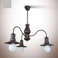 Люстра из дерева 3 ламповая для кухни, кафе, ресторанов,   18703-2