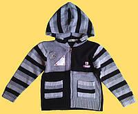 Кофта вязанная для девочки, серая, с капюшоном