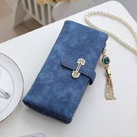 Женский кошелек из нубука CRYSTAL большой с подвеской синий
