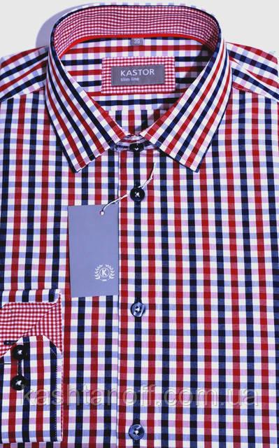 Приталенная рубашка в красную клетку