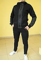 Женский тёплый спортивный костюм Nike (8921) черный с салатовым код 2049А