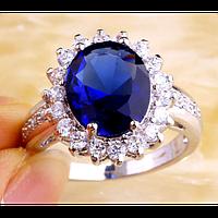 Серебряное кольцо с синим сапфиром 16р 18р 19р