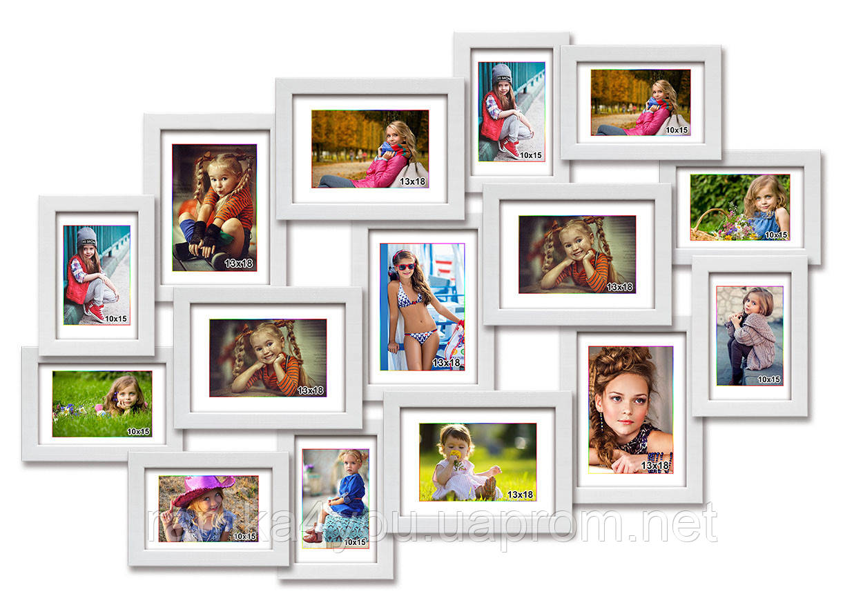 Деревянная мультирамка-коллаж Феодосия на 15 фотографий белая