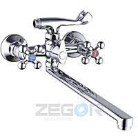 Смеситель для ванны длинный гусак DAK7-А856 (D5Q) ZEGOR (TROYA), фото 1