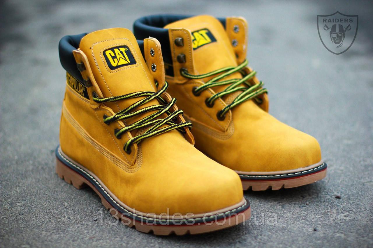 Мужские ботинки Caterpillar CAT высокие зимние (с мехом) (жёлтые) - Интернет - 71af7916566