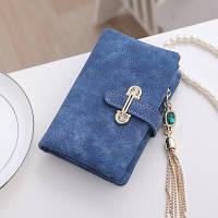 Женский кошелек из нубука CRYSTAL маленький с подвеской синий