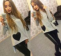 Женская модная кофта с асимметричным низом и сердцем (2 цвета)