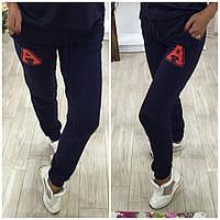 Стильные трикотажные спортивные женские штаны с буквой А. Арт-3822/14