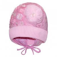 Нежная шапка ушанка для девочек