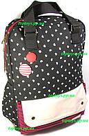Рюкзак - Сумка женский тканевый городской молодёжный чёрный с белым и красным. Хит продаж!