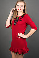 Платье Кураж (бордовый) прямого кроя с воланами 46-50 размера, фото 1