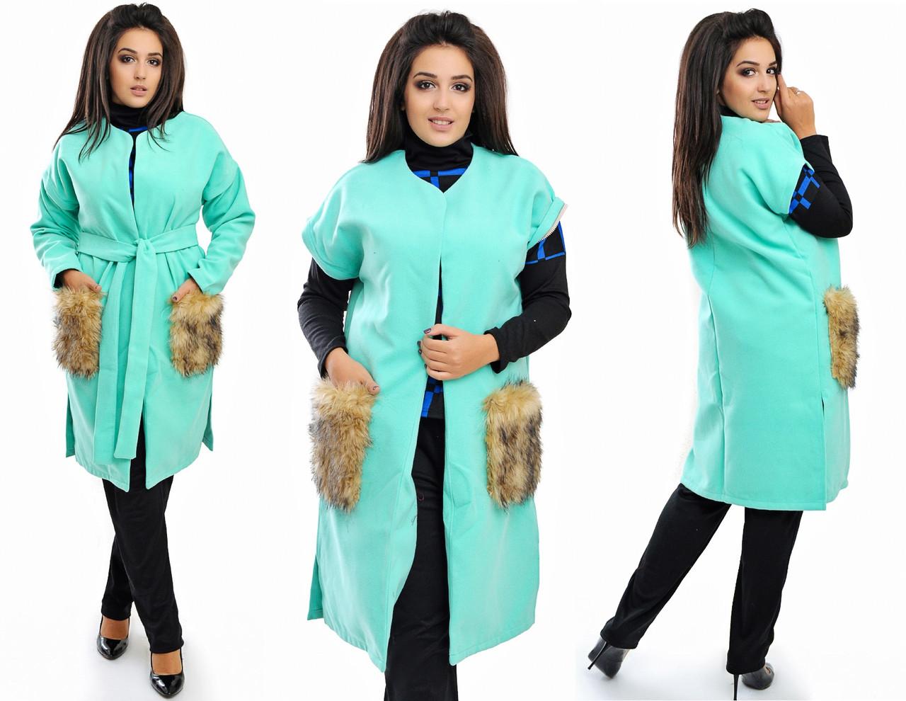 Кашемировое пальто - жилет с меховыми карманами 03332