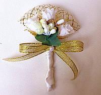 Бутоньерка на свадьбу золотистая №5