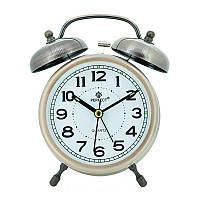 Кварцевый ретро будильник Perfect Q860, металл+пластик, 130x95x50мм, подсветка стрелок и индексов