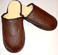 Домашние мужские кожаные тапочки из овчины