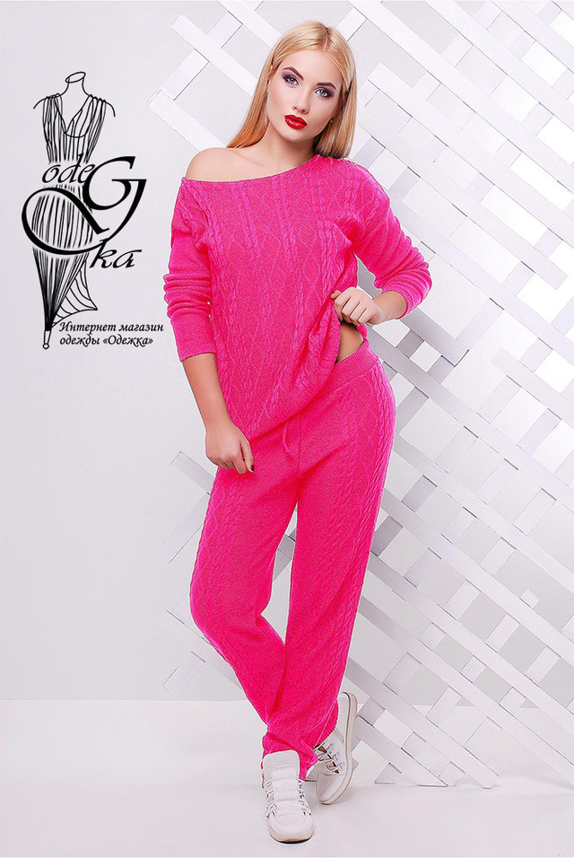 Малиновый цвет Вязаного спортивного костюма Дениз-3