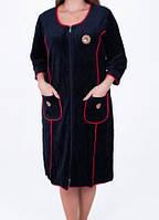 Однотонный женский велюровый халат
