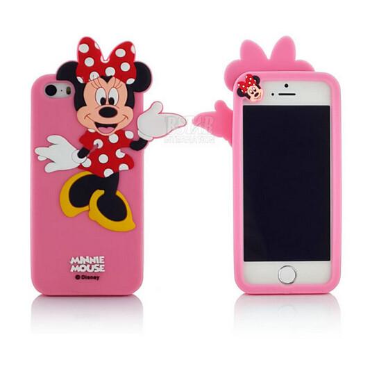 Чехол силиконовый Minnie Mouse для iPhone 5/5s Pink