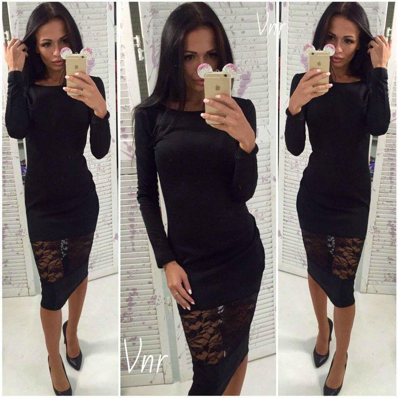 Черное платье с гипюром сексуальное облегающее черное 42