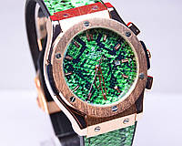 Часы Hublot Big Bang Gold зеленые (змея Snake)