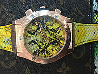 Часы Hublot Big Bang Gold желтые (змея Snake)