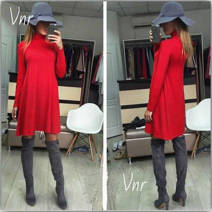Платье трапеция с горлом Красное, фото 2