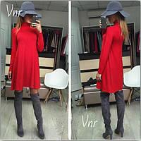 Платье трапеция с горлом Красное