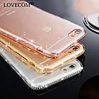Diamond Crystal Frame Clear Phone Back Cover Soft TPU для iPhone 7 Pink, фото 4