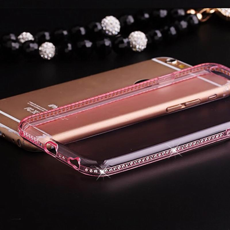 Diamond Crystal Frame Clear Phone Back Cover Soft TPU для iPhone 7 Pink