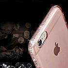 Diamond Crystal Frame Clear Phone Back Cover Soft TPU для iPhone 7 Pink, фото 2
