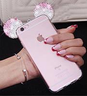Чехол силиконовый 3D Mickey Mouse Case Pink для iPhone 7